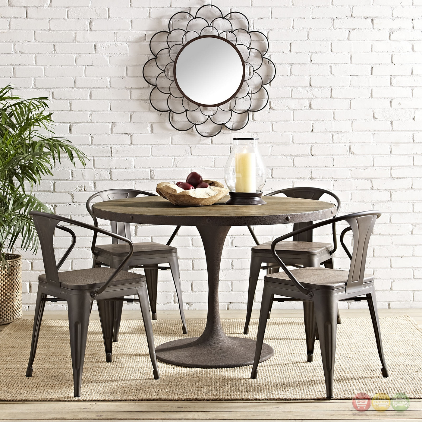 "Wood Round Dining Table: Drive Rustic 48"" Round Wood Top Dining Table W/ Iron"