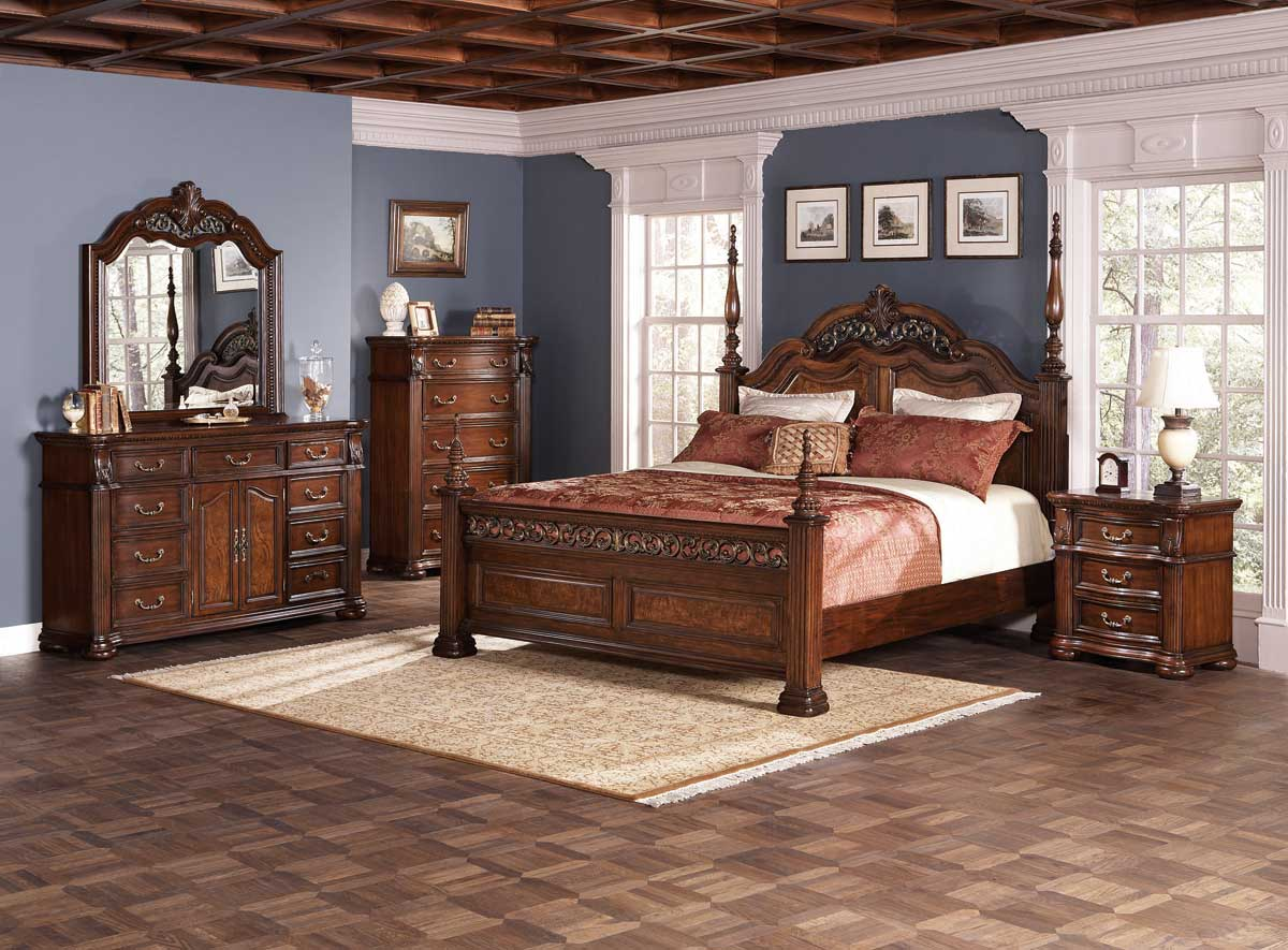 dubarry traditional bedroom set in rich brown finish coaster
