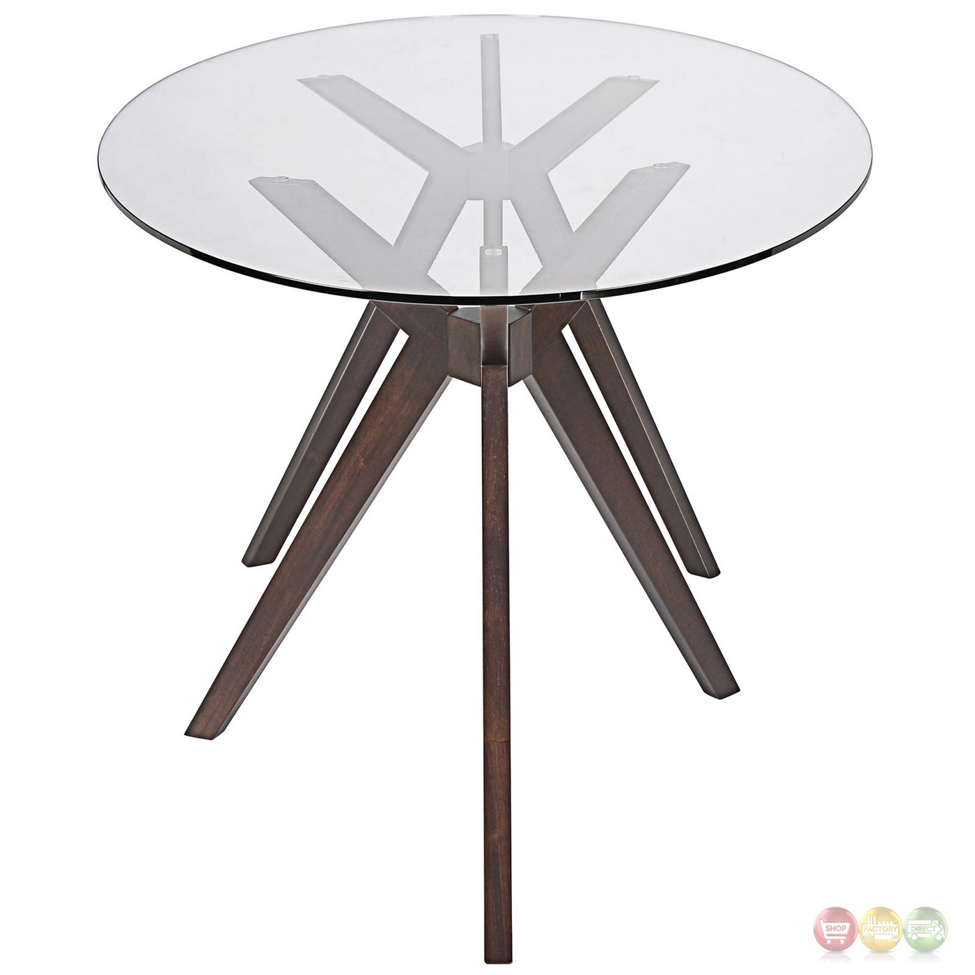 Modern 79 Glass Top Dining Table With Double Tripod Wood Base Walnut