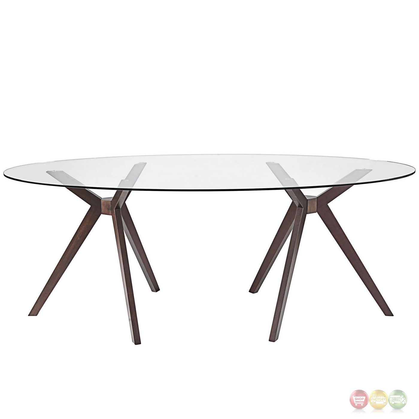 79 Quot Glass Top Dining Table With Double Tripod Wood Base Walnut
