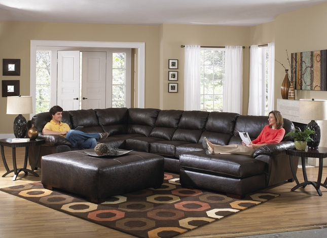 Lawson Godiva U Shape Sectional Sofa w/ Chaise In Chocolate Bonded Leather