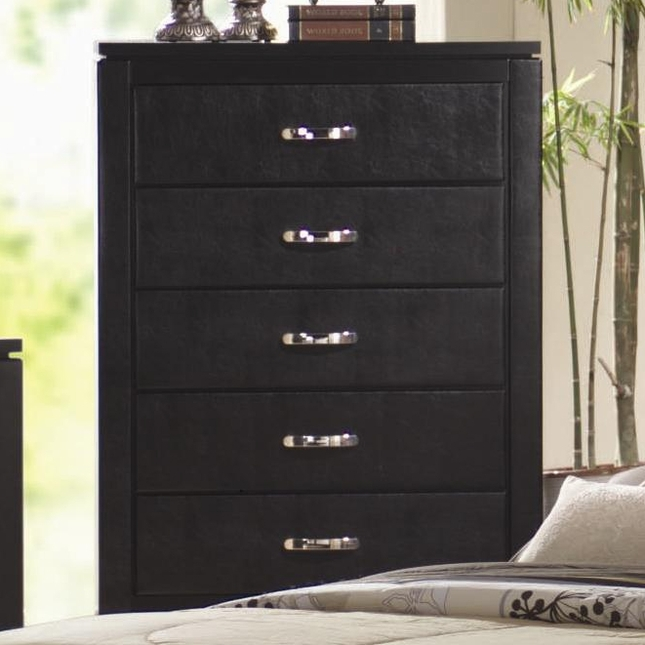 Dylan Contemporary Black Wood Five Drawer Chest