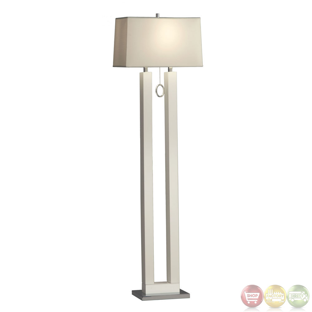 Earring Gloss White amp Chrome Modern Design Floor Lamp 11640