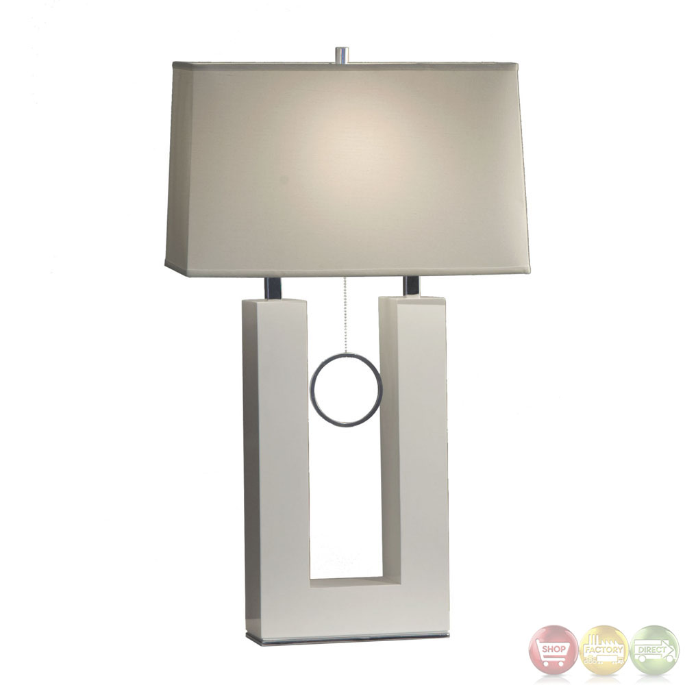 Earring Standing Gloss White Modern Design Table Lamp 11638