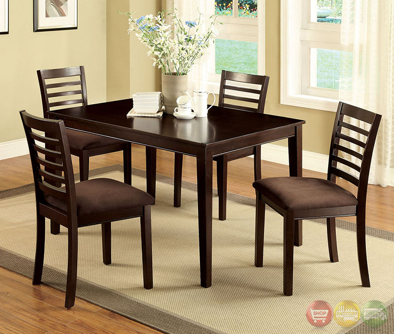 Eaton I Contemporary Espresso Casual Dining Set with Padded Microfiber ...