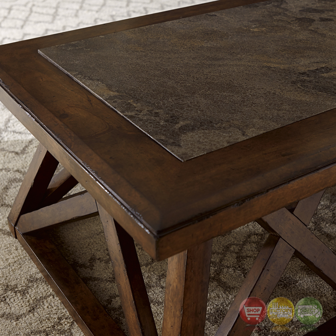 Echo Park Blue Stone Top Birch Cocktail Table With Stipple
