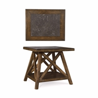 Echo Park Blue Stone Top Birch End Table with Stipple Stain Finish