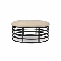 Echo Park Oval Ottoman with Metal Base and Beige Upholstered Top
