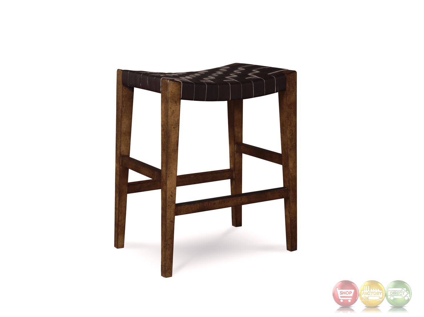 Echo Park Woven Black Leather 24 Quot Birch Counter Height Stool