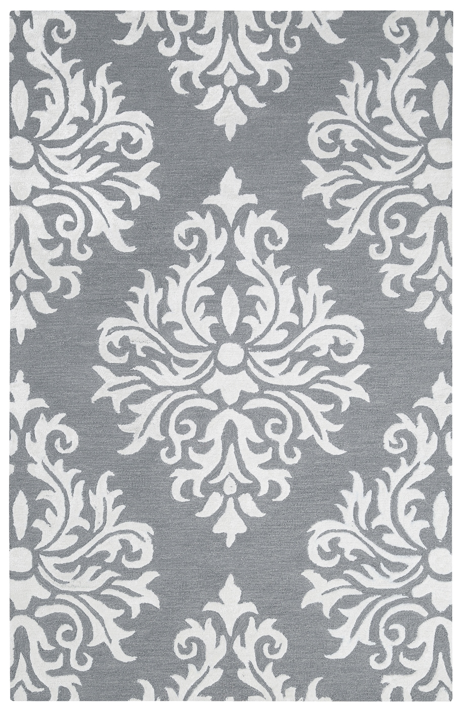 Eden Harbor Classic Damask Wool Area Rug In Gray Amp White