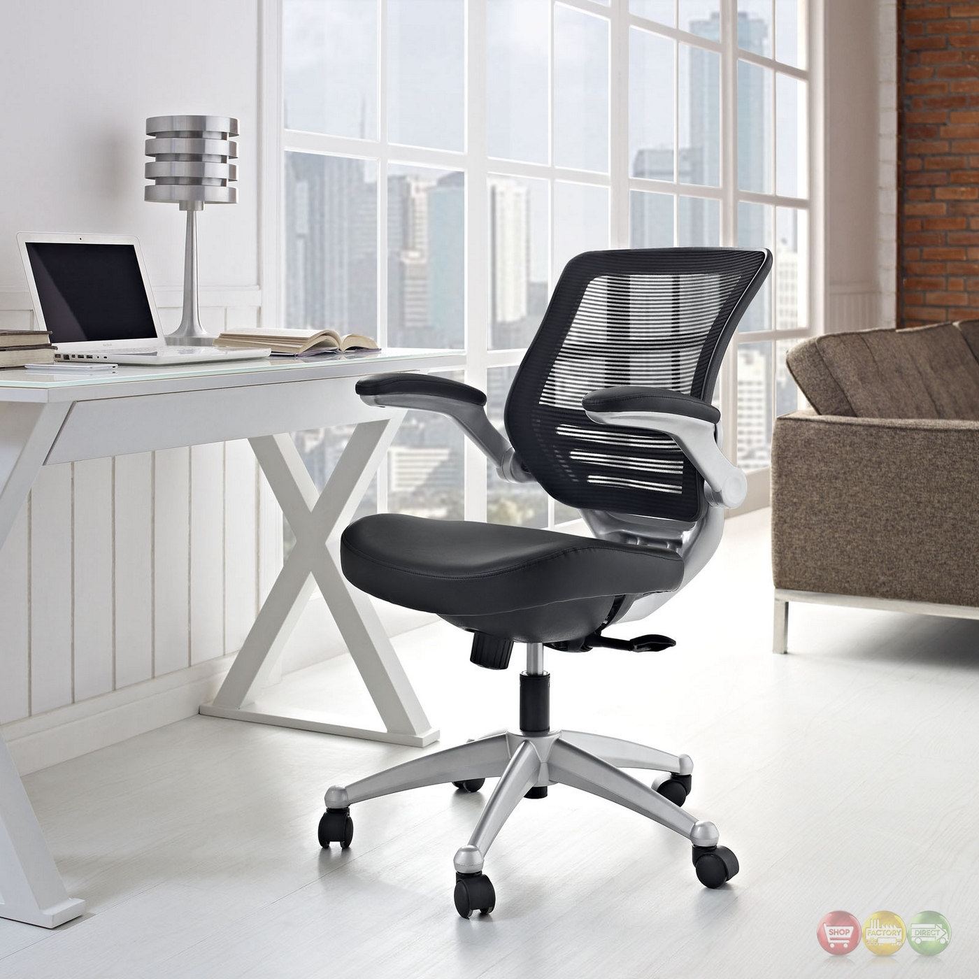 edge modern adjustable ergonomic leather office chair w mesh back