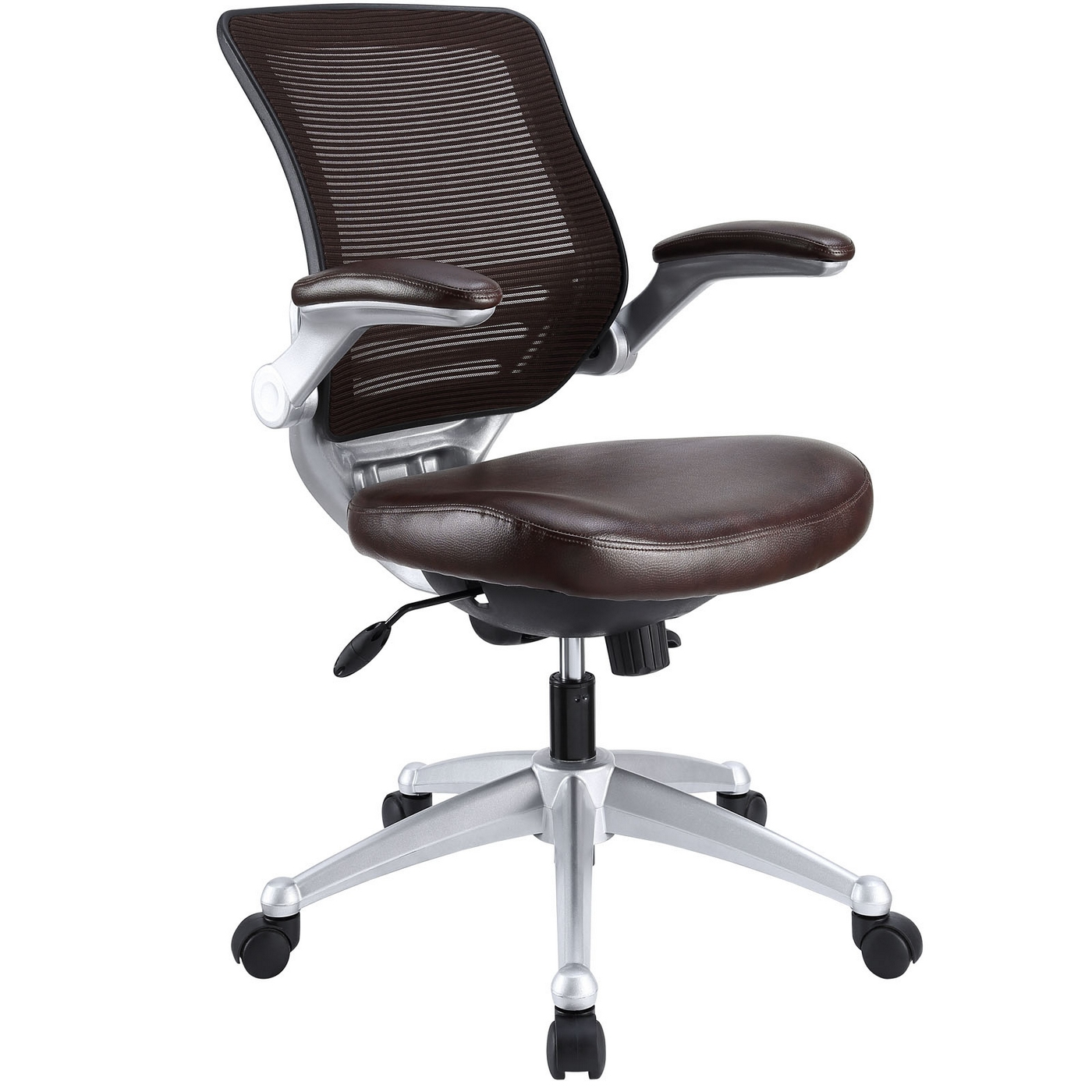 Edge Modern Adjustable Ergonomic Leather Office Chair W Mesh Back Brown