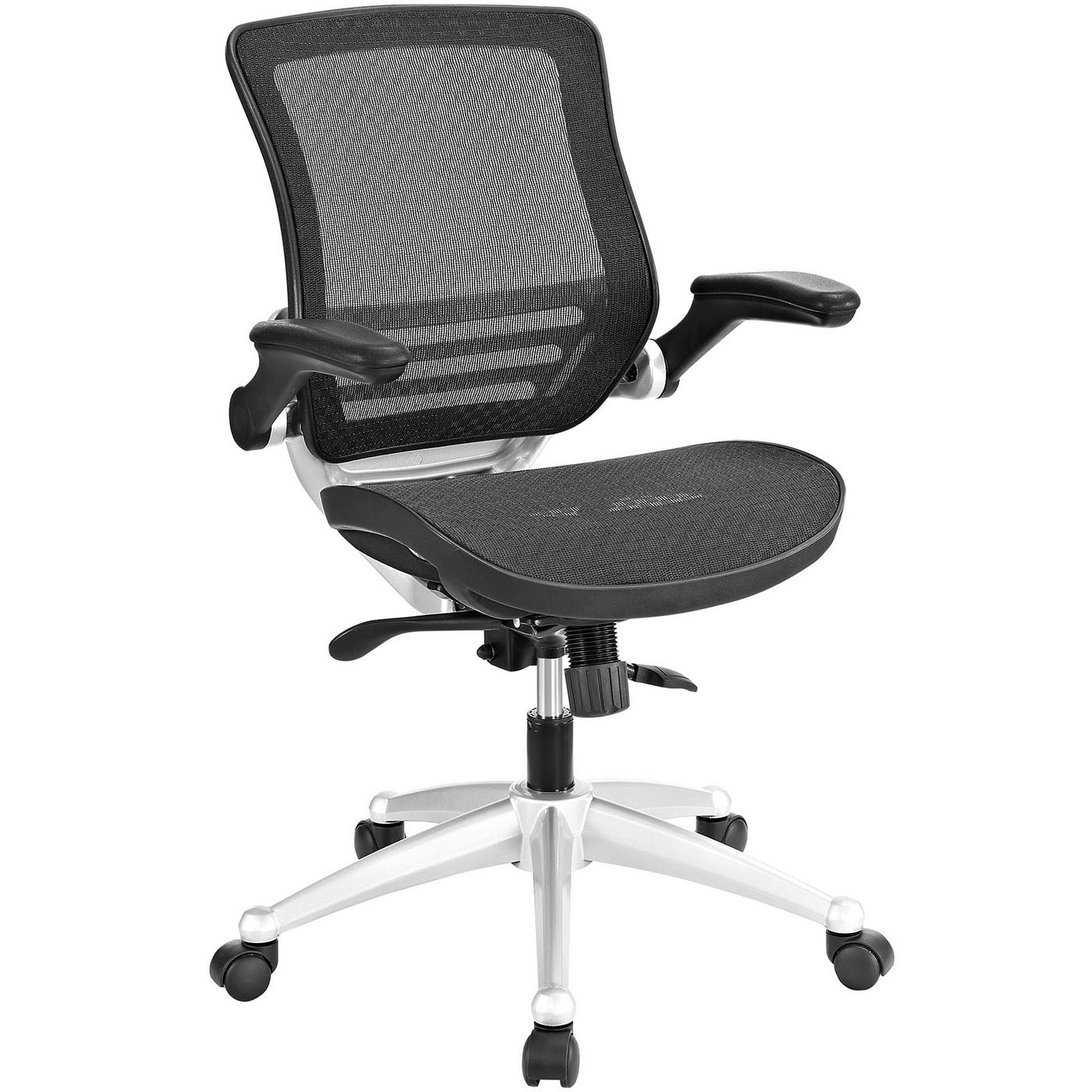 Edge Modern Ergonomic Mesh Office Chair W Padded Vinyl Armrests Black