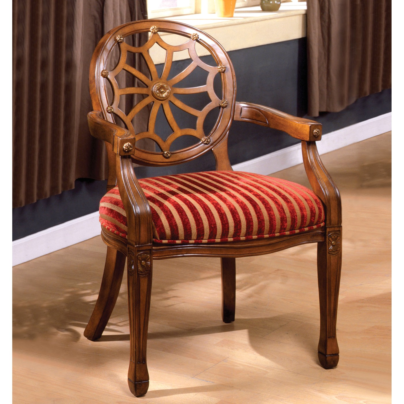 Edingurgh Antique Oak Accent Chair With Padded Fabric Seat