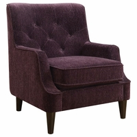 Eggplant Purple Button Tufted Accent Chair With Welted Trim