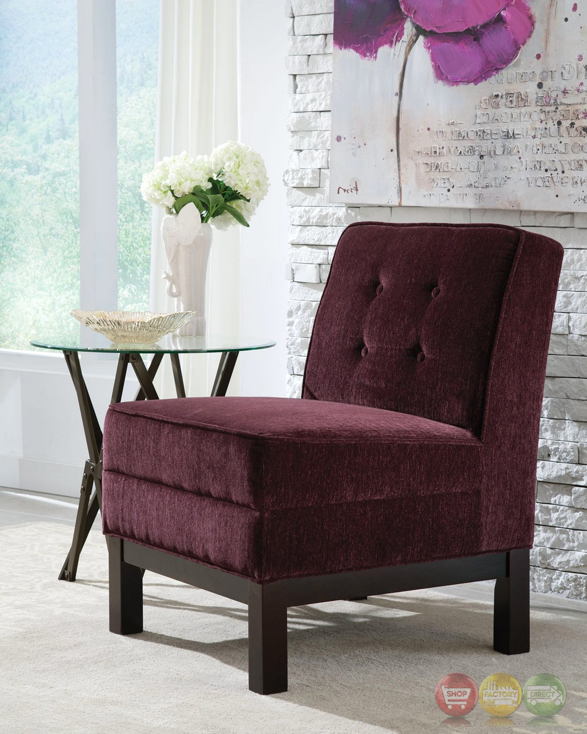 Eggplant Purple Button Tufted Armless Accent Chair With