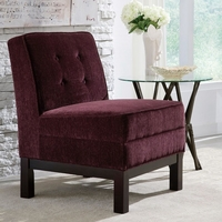 Eggplant Purple Button Tufted Armless Accent Chair with Cappuccino Legs