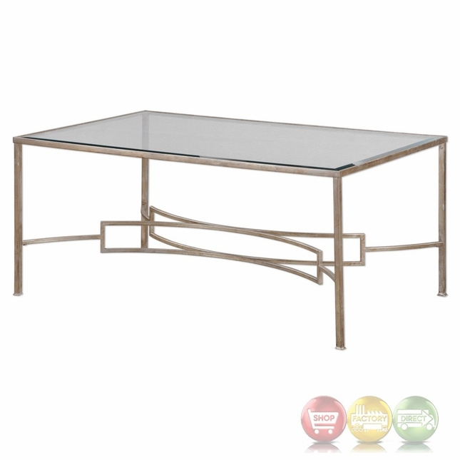 Antique Silver Glass Coffee Table: Eilinora Coffee Table With Antique Silver Iron Frame And