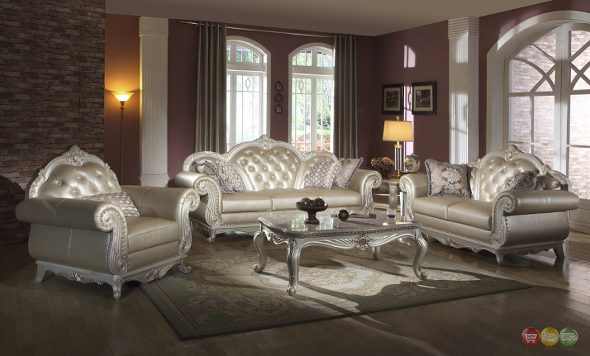 Metallic pearl button tufted leather formal living room sofa set