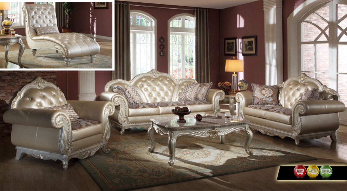 elegant metallic pearl button tufted leather formal living room sofa