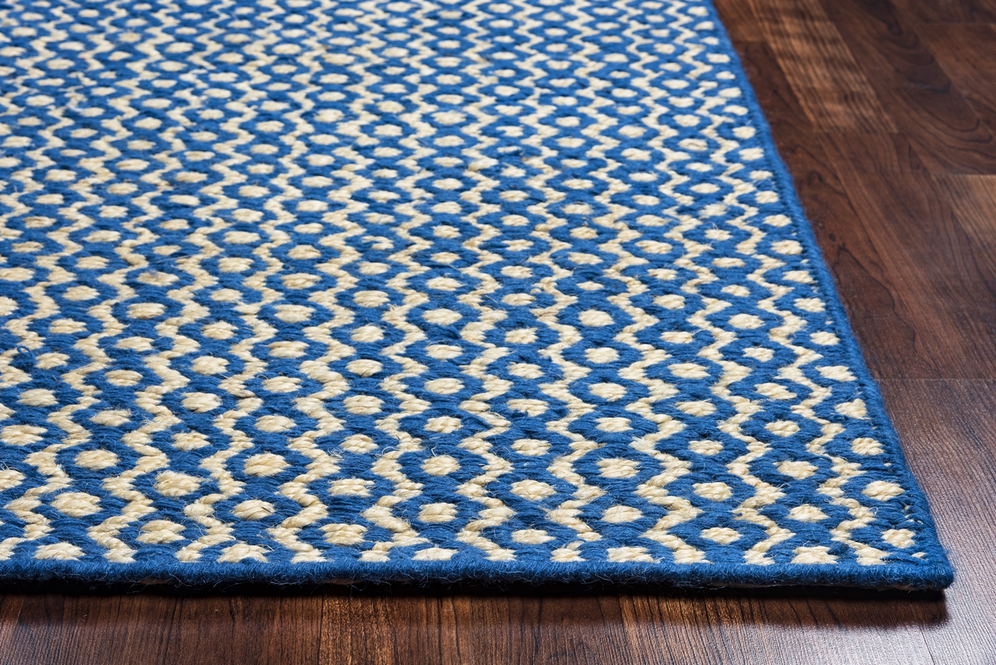 Ellington Dotted Zig Zag Wool Area Rug In Royal Blue