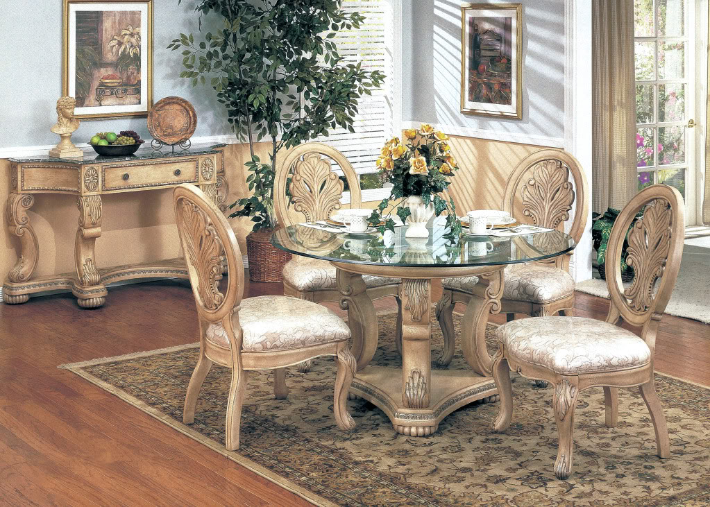 "Emily Antique White 5pc Formal Dining Set Round 48"" Glass"