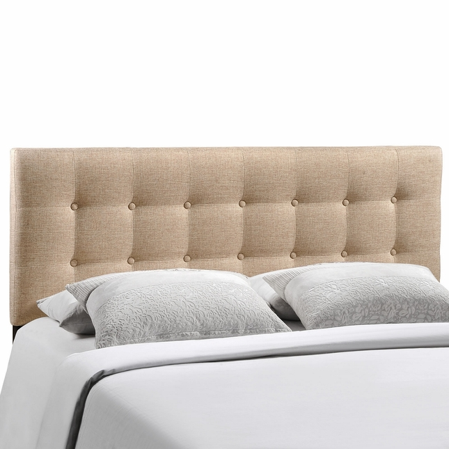 Emily Modern Button-tufted King Fabric Headboard, Beige