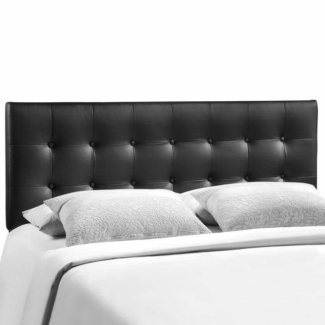 Emily Modern Button-tufted King Faux Leather Headboard, Black
