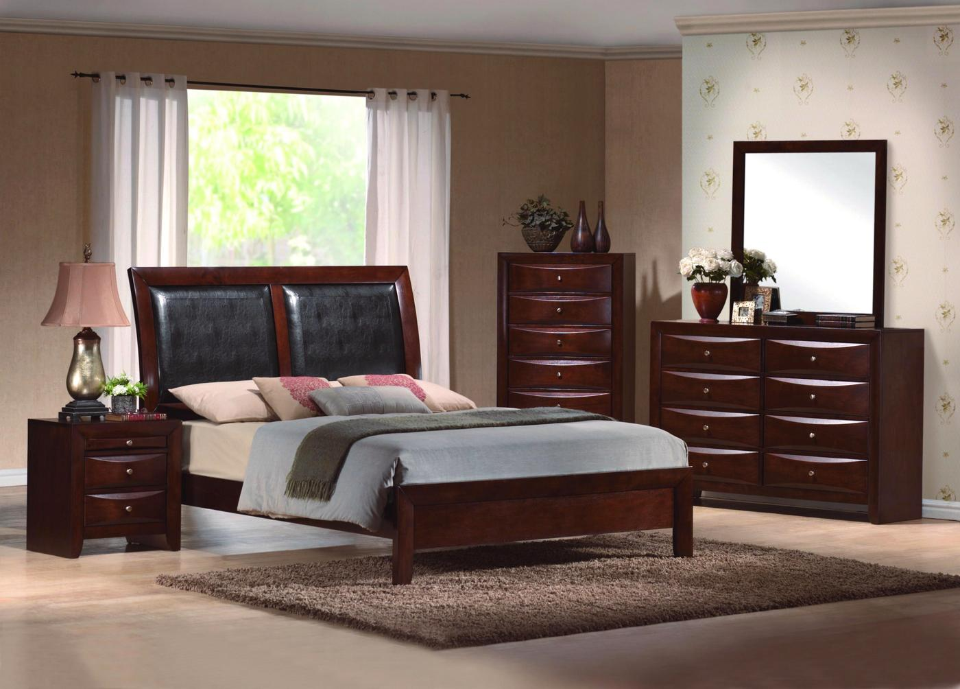 emily upholstered low profile bed contemporary bedroom set