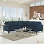 Empress 3 Piece Button-tufted Upholstered Sectional Sofa Set, Azure