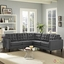 Empress 3 Piece Button-tufted Upholstered Sectional Sofa Set, Gray