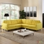Mid-Century Modern Empress 3 Piece Button-Tufted Sectional Sofa Set, Sunny