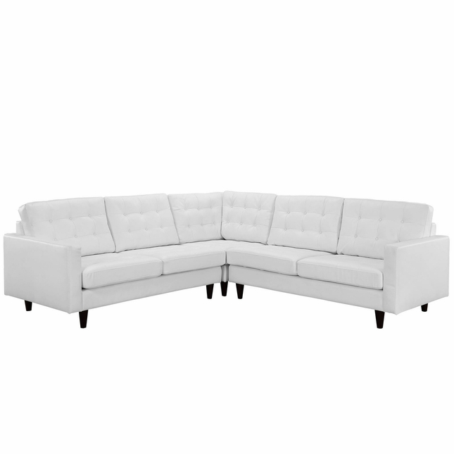 Mid-Century Modern Empress 3pc Bonded Leather Sectional Sofa Set, White