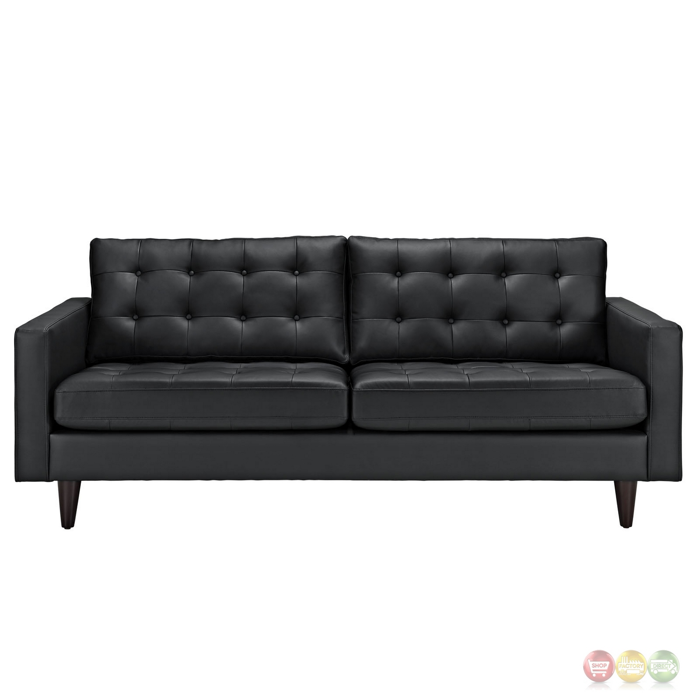 Empress Contemporary Button-tufted Leather Sofa, Black