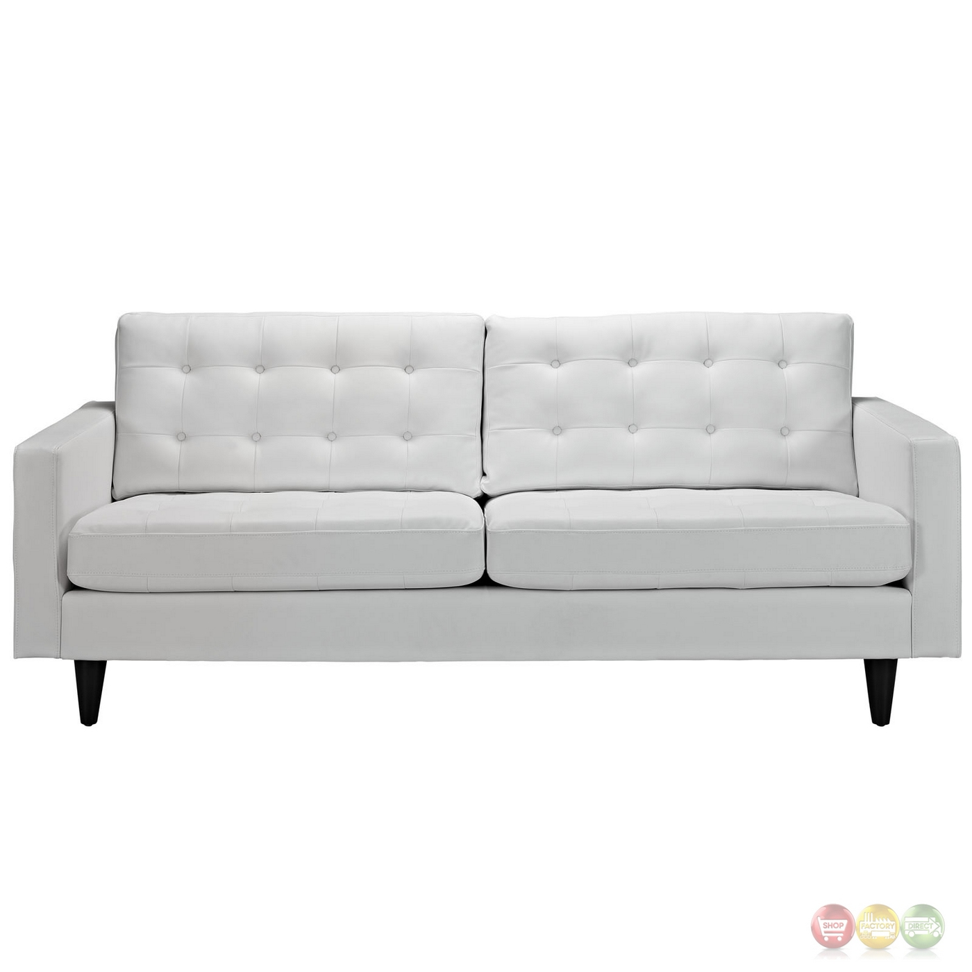 Empress Contemporary Button Tufted Leather Sofa White