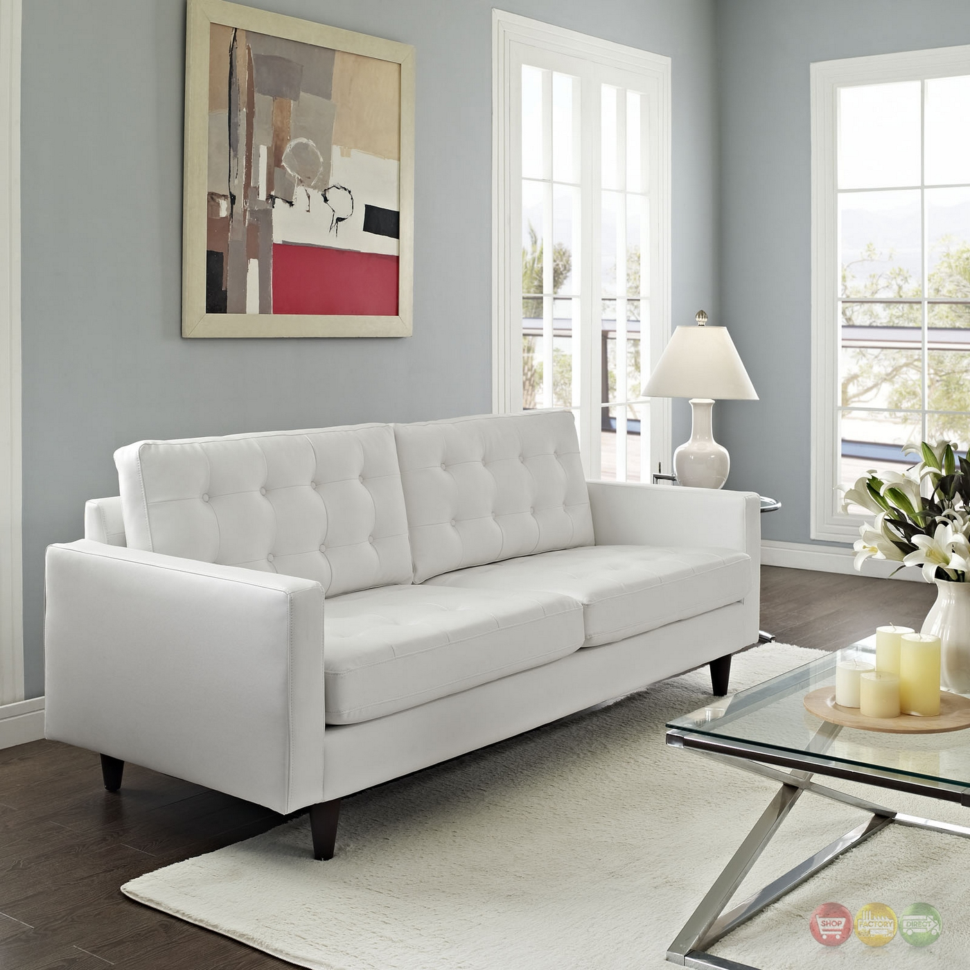 White Leather Sectional Sofa: Empress Contemporary Button-tufted Leather Sofa, White