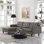 Mid-Century Modern Empress Left-facing Button-Tufted Sectional Sofa, Granite