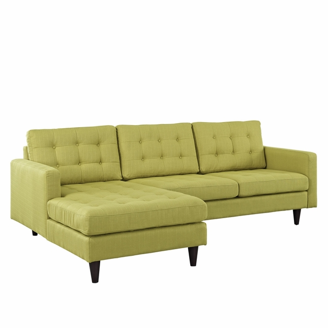 Empress Left-facing Button-tufted Upholstered Sectional Sofa, Wheatgrass