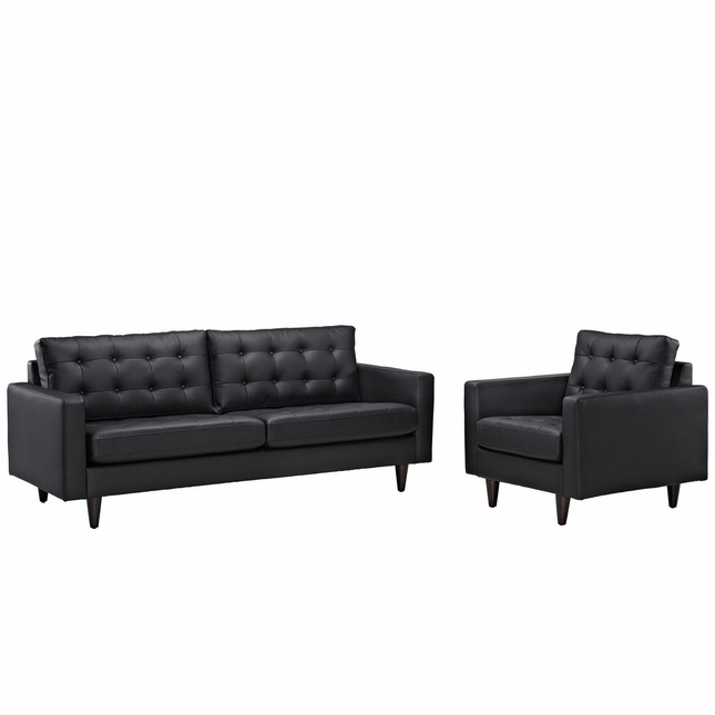 Mid-Century Modern Empress 2pc Button-Tufted Leather Sofa & Armchair Set, Black