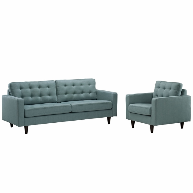 Mid-Century Modern Empress 2pc Tufted Leather Sofa & Armchair Set, Laguna