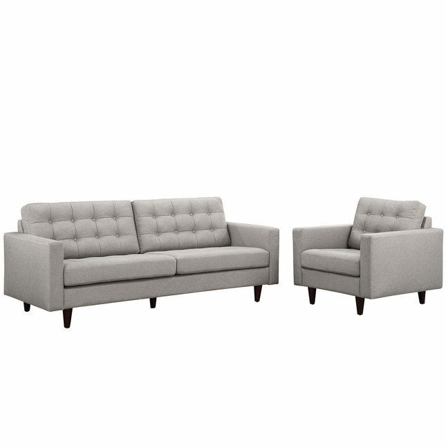 Empress Modern 2pc Button-tufted Leather Sofa And Armchair Set, Light Gray