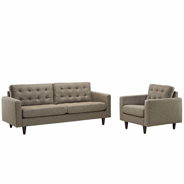 Mid-Century Modern Empress 2pc Tufted Leather Sofa & Armchair Set, Oatmeal