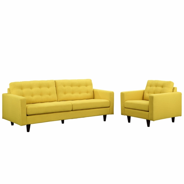 Mid-Century Modern Empress 2pc Button-Tufted Leather Sofa & Armchair Set, Sunny