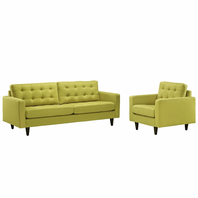 Mid-Century Modern Empress 2pc Leather Sofa & Armchair Set, Wheatgrass
