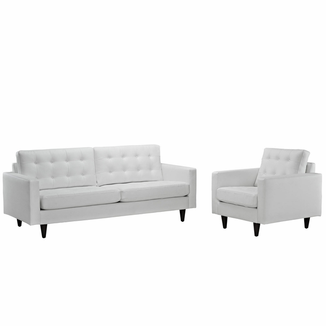 Empress Modern 2pc Button-tufted Leather Sofa And Armchair Set, White