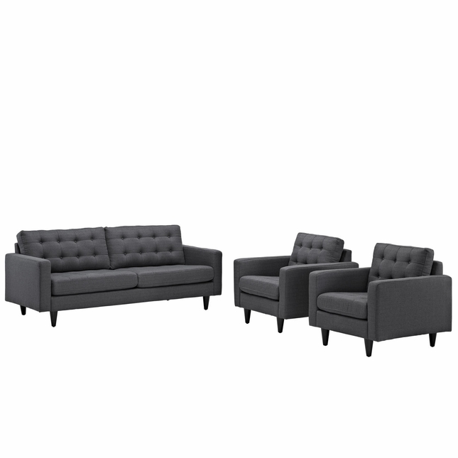 Mid-Century Modern Empress 3pc Button-Tufted Leather Sofa & Armchair Set, Gray