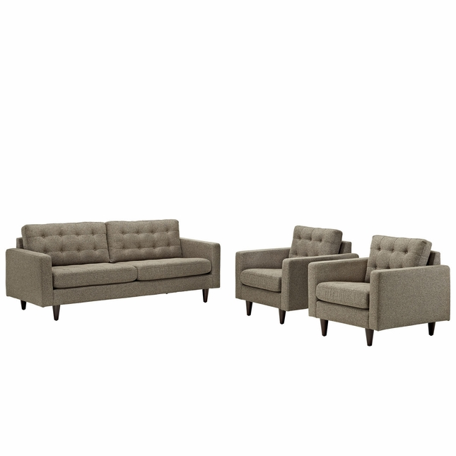 Empress Modern 3pc Button-tufted Leather Sofa And Armchair Set, Oatmeal