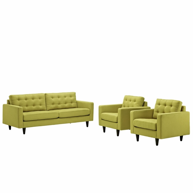 Empress Modern 3pc Button-tufted Leather Sofa And Armchair Set, Wheatgrass