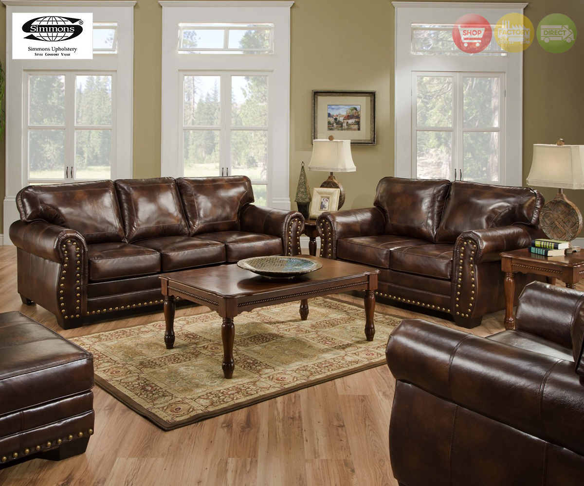 Encore Vintage Traditional Brown Bonded Leather Sofa Set w Bombe