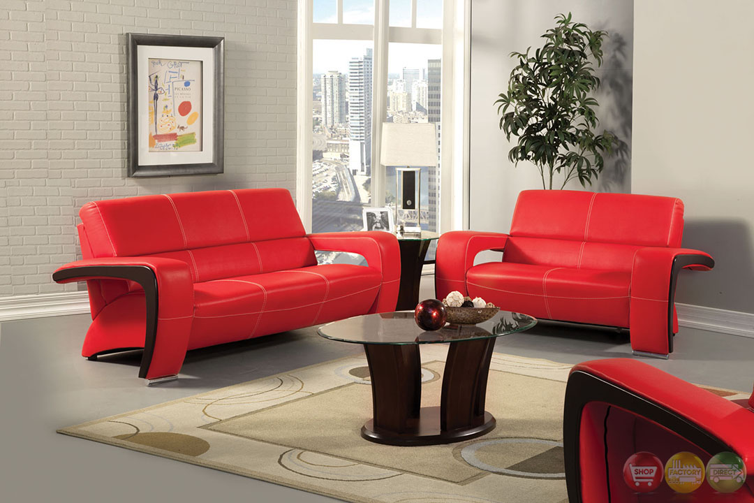 Red Living Room: Red And Black Living Room Set